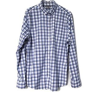 Express Nylon Blend Button Down Shirt Blue Plaid